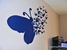 Fluture din hartie cartonata Flower Crafts, Origami, Diy And Crafts, Party, Flowers, Handmade, Design, Home Decor, Paper Butterflies