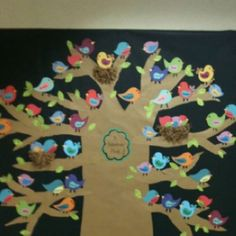 A Fabulous Flock bulletin board: tree with cute birds and nests