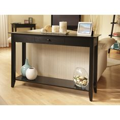Tables:Rectangle Black Smart Space Option With Sensual Styling Traditional Dark Black Solid Pine MDF Birchwood Veneer Williams Console Table With Drawers Funky Console Table with Drawers