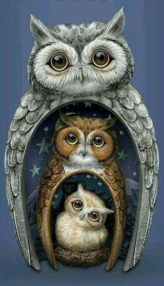 The perfect nest for nature's most majestic creatures is your home! Marvel at the beauty and wonderment of this trio of nesting owls, including dad, mom and baby owl. Whether displayed nesting together or side by side, these owls are a real hoot: Tier Wolf, Grand Art, Owl Family, Owl Pictures, Owl Always Love You, Beautiful Owl, Owl Crafts, Wise Owl, Nature Tattoos