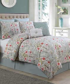 Look at this Blue Evangeline Comforter Set on #zulily today!