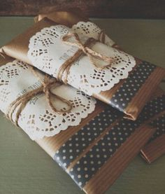 Gift wrapping - paper doily and washi tape
