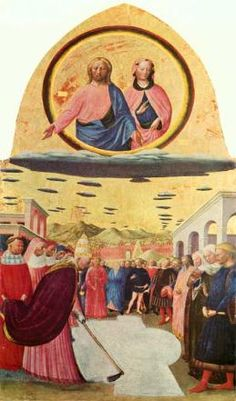 "UFOs in art:  Is Jesus and Mary riding a spacecraft or a cloud?  In this art  entitled, ""Fondazione della chiesa di  Santa Maria Maggiore a Roma""  created in 1428, Masolino da  Panicale seemed to illustrate clouds  as saucers that those who were  enlightened rode upon.  The  background of the art has what  looks like many more UFOs in it.  Do  clouds look like disks?  Is the artist  saying UFOs sometimes  masquerade as clouds?"