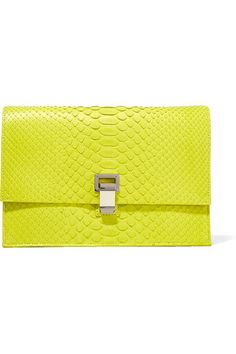 Chartreuse python, sand leather (Calf) Flip lock-fastening front flap Designer color: Sulphur Comes with dust bag Python: Vietnam  Made in Italy