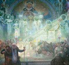 Alphonse Mucha-The Slavonic epic poem: In the cloister on the mountain Athos.
