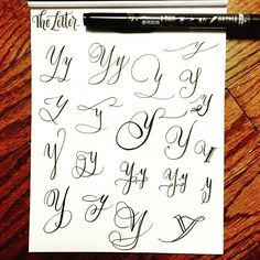 • letter Y drill • Studies of each letter continued. If you missed my post on letter Aa-Xx, please check earlier posts on my feed . #letterarchive_y #moderncalligraphy