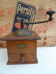 Vintage French all original Coffee Grinder 'Moulin à Café'  Made by Peugeot Freres Wooden Body with Brass  Top by VintageFoggy on Etsy