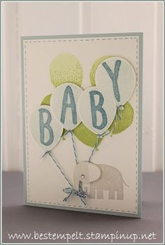 handmade baby welcome card from www.bestempelt.de: Eine Babykarte mit Ballons ... could spell out Theo in these balloons ... Stampin' Up!