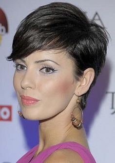 Absolute Pixie perfection - cut, colour and execution is superb! Short dark hair