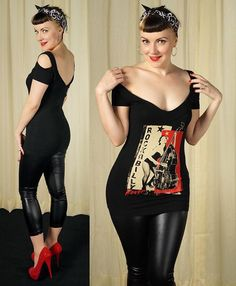 Cute rockabilly ensemble with off shoulder top, leathery pants, and red platform pumps. Looks Rockabilly, Rockabilly Baby, Rockabilly Outfits, Rockabilly Fashion, Retro Fashion, Vintage Fashion, Lolita Fashion, Lady Like, Estilo Pin Up