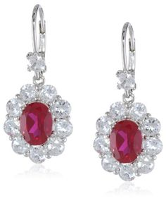10k White Gold Created Ruby and Created White Sapphire Dangle Earrings « My Brilliant Bauble