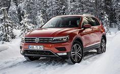 Scarica sfondi Volkswagen Tiguan, 2017, inverno, neve, foresta, rosso Tiguan, crossover, VW Tiguan