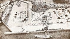 Aerofotografia da Praça Mauá quando da chegada do rei belga Alberto I ao Brasil a bordo da galeota D. João VI. Rio de Janeiro, setembro de 1920.