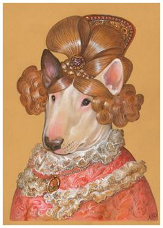 """Bull Terrier. Lady Chic"". Art Print 11.7'' x 16.5''. Painted by Maria Pishvanova for Animal Century Art Collection #bullterrier #dogsinclothes"