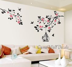 tree wall decals flower vinyl wall decals wall mural birds by cuma, $45.00