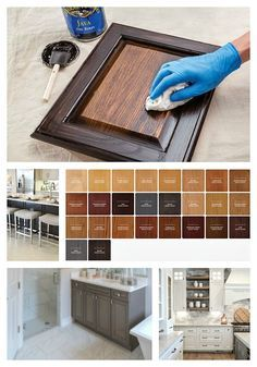 bathroom cabinets Tips for staining cabinets or changing stain color. Antique Kitchen Cabinets, Stained Kitchen Cabinets, Refacing Kitchen Cabinets, Restaining Cabinets, Staining Wood Cabinets, Kitchen Counters, Cupboards, Gel Stain Cabinets, Diy Painting Kitchen Cabinets