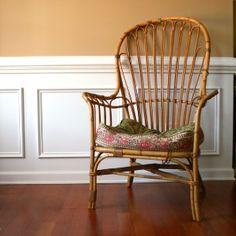 Vintage Cane Patio Chair. High Back. Armchair....