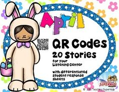 April Themed QR Codes for your Listening Station. This set contain popular April themed stories, Easter,If You Give A ...., and Earth Day/recycling. This is a perfect set for the Tech Savvy Classroom! Students love Technology and these QR Codes are easy and fun for students to use. | by Teaching Superkids