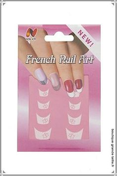 Patch ongle french manucure fantaisie avec strass.