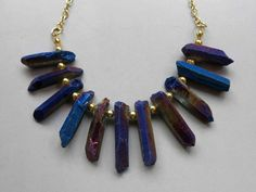 Natural Raw Crystal Quartz Point Beads Blue Titanium Quartz Necklace B697