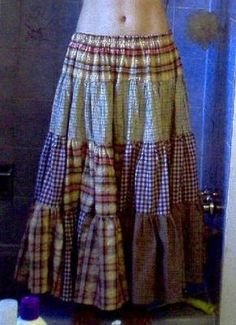 """random fabric """"gypsy"""" skirt tutorial- with some bands in vibrant colors, I can totally see this working"""