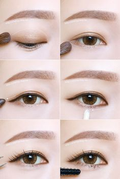 Korean Eye Makeup Tutorial (credits to: - Make Up Korean Makeup Look, Korean Makeup Tips, Asian Eye Makeup, Korean Makeup Tutorials, Natural Eye Makeup, Daily Eye Makeup, Everyday Makeup, Korean Beauty, Asian Beauty