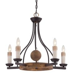 "Quoizel HMP5005WT Western Bronze Hampshire 5 Light 25"" Wide Candle Style Chandelier - LightingDirect.com"