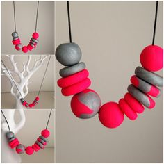 Long polymer clay necklace.