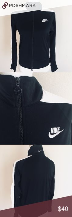 Nike Jacket ✨ Nike full zip jacket - Black with white details - Soft fleece linings - Excellent condition ✨ Nike Jackets & Coats