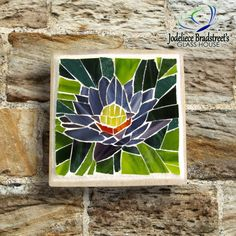 Stained Glass Mosaic Lotus Flower on Reclaimed by JBsGlassHouse