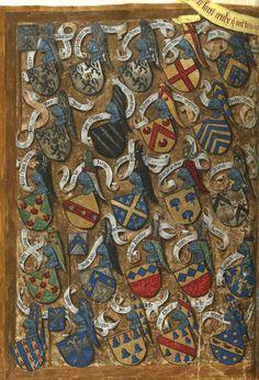 Tournoi «fait en la ville de Bruges par tres hault et puissant seigneur, monseigneur de La Gruthuse», le 11 juin 1392; avec les armoiries des combattants (f°Ev) -- «Traittié de la forme et devis comme on fait les tournoyz», par René d'Anjou, 1401-1500 [BNF Ms Fr 2693- ark:/12148/btv1b8449033b]