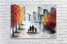 Love in the city 2 Acrylic Print. Love in the city 2 - Textured pallet knife cityscape painting. Modern acrylic on canvas home artwork. Ready to hang on the wall. MADE TO ORDER. #art #painting #abstract #acrylic #modern #original #wall #decor #gift #cityscape #landscape #palletknife #couple #redpainting #black&white Canvas Artwork, Lovers Art, Amazing Art, Colorful Backgrounds, Fine Art America, Pop Art, Painting Abstract, Art Gallery, Wall Decor