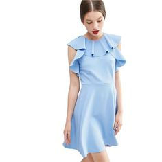 Perfektne padnúci bledo modré šaty HUSH HUSH veľký