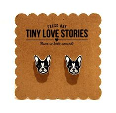 This is a tiny love story for Boston Terrier Puppies. So cute! These earrings are hand cut! The earrings are made of a hard durable plastic. These measure approx. A little smaller than a dime. Love Your Dog? Visit our website NOW! Terrier Puppies, Pitbull Terrier, Boston Terrier Love, Boston Terriers, Fox Terriers, Indie Brands, Puppy Love, Best Dogs, Fur Babies