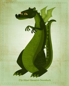 Whimsical Art for Nursery -The Short-Snouted Greenback Dragon Print 8 in x 10 in Dragon Art for Kids Rooms