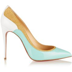 Christian Louboutin Tucsick 100 glitter-trimmed patent-leather pumps (1.160 BRL) ❤ liked on Polyvore featuring shoes, pumps, mint, slip-on shoes, mint green shoes, patent pumps, glitter pumps and narrow shoes
