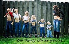 """Our Family will be growing"" pregnancy reveal photo for the whole family! Fun idea :)"
