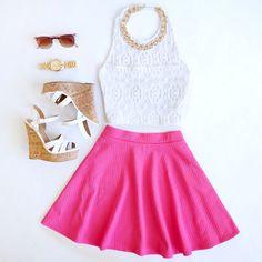Crop Top + Skater Skirt