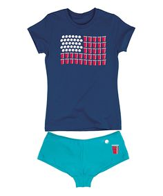 Look at this Navy US Flag Beer Pong Tee & Turquoise Hipster on #zulily today!