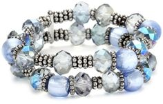 Napier Silver-Tone Blue Multi-Beaded Stretch Bracelet   $26