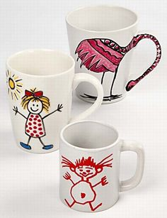 11720 Porcelain Mugs decorated with Markers