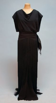 FRINGED CREPE EVENING GOWN, 1930's