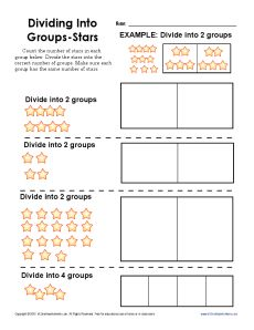 Your student will divide the stars into equal groups in this worksheet. Teaching Division, Math Division Worksheets, 3rd Grade Math Worksheets, Third Grade Math, Grade 2, Teaching Multiplication, Teaching Math, Interactive Math Journals, Guided Math Groups