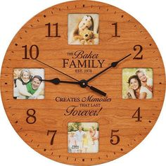 """Custom Engraved 12"""" Round Wooden Photo Clock - Wood Wedding Clock or Family Wall Clock- Couples Gift, House Warming Present"""
