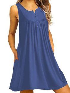 Boho V Neck Printing Casual Dresses Casual Cotton Dress, Cotton Dresses, Casual Dresses, Work Dresses For Women, Clothes For Women, Beach Casual, Blouse And Skirt, Button Dress, Swing Dress
