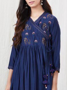 Navy Blue Zari Embroidered Cotton Silk Angrakha Kurta with White Palazzo- Set of 2 Simple Kurti Designs, Kurta Designs, Blouse Designs, Pakistani Dresses Casual, Pakistani Dress Design, Casual Dresses, Sleeves Designs For Dresses, Dress Neck Designs, Angrakha Style