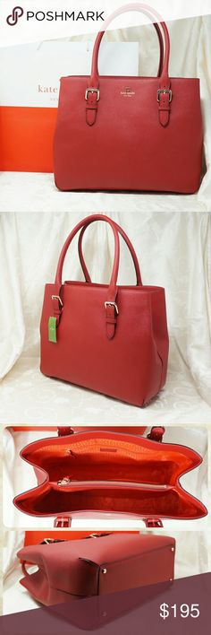 """Kate Spade New York Cove Street Airel 100% authentic; brand new, never used with tag  Cove Street Airel in Pillbox Red, style # WKRU2326  Crosshatched Leather Saffiano  shoulder bag with dividing zipper pocket; double slide pockets and interior zipper pocket; 14 carat light gold plated hardware; Kate Spade New York gold printed signature with tiny cutout spade; dust bag not included  Size 15"""" W x 11.9"""" H x 6.2"""" D kate spade Bags Shoulder Bags"""