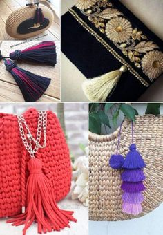 09-tassel-bolsa Diy Tassel, Home Crafts, Tassel Necklace, Macrame, Projects To Try, Creations, Crafty, Sewing, Womens Fashion