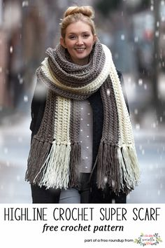 Crochet this easy chunky highline super scarf from my crochet scarves that look knit free pattern roundup!