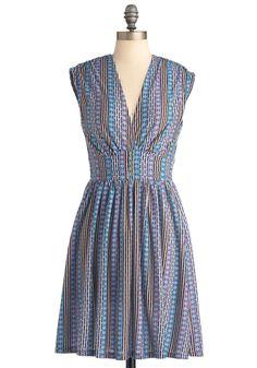 Diamond Fund Dress - Mid-length, Multi, Print, Pleats, A-line, Sleeveless, Multi, Buttons, Boho, 70s